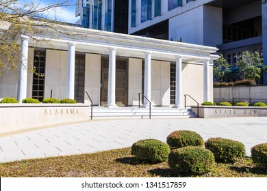 MONTGOMERY, ALABAMA - MARCH 17, 2019:  Alabama State Bar Building:  Angled front facade of the Alabama State Bar Building located in downtown Montgomery, Alabama.