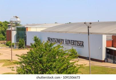 MONTGOMERY, ALABAMA - MAY 12, 2018: Montgomery Advertiser Building:  Facade of the Montgomery Advertiser, one of the primary news sources in Montgomery, Alabama.
