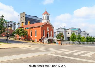 MONTGOMERY, ALABAMA - MAY 19, 2018:  Dexter Avenue King Memorial Baptist Church: Historic Dexter Avenue King Memorial Baptist Church once pastored by the late Reverend Dr. Martin Luther King Jr.