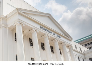 MONTGOMERY, ALABAMA - MAY 19, 2019:  Front Facade of Alabama Department of Labor:  Front facade of the Alabama Department of Labor building located in downtown Montgomery, Alabama.