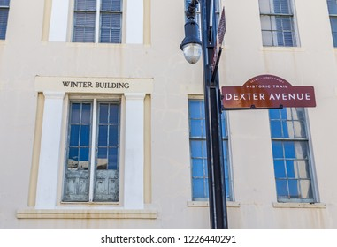 MONTGOMERY, ALABAMA - NOVEMBER 10, 2018:  Winter Building, 1841, from which the Confederate Secretary of War, ordered General Beauregard to fire on Fort Sumter, starting the Battle of Fort Sumter.