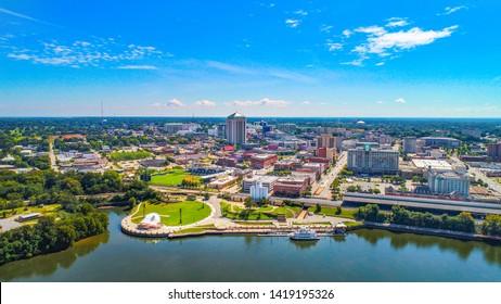 Montgomery Alabama Riverfront Park Skyline Aerial.