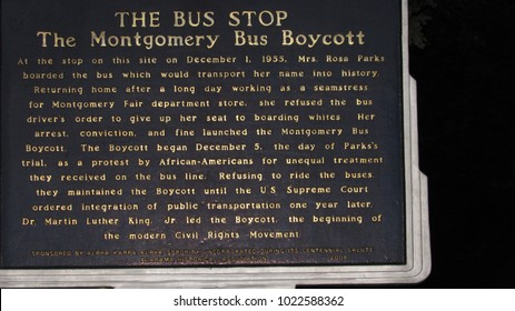 """Montgomery, Alabama/ United States - June 2015: Landmark sign marking the bus stop where Rosa Parks refused the bus driver's order to give up her seat. June 2015"