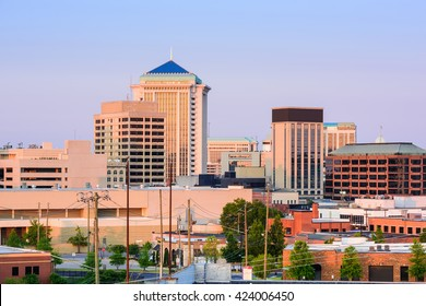 Montgomery, Alabama, USA downtown skyline at dusk.
