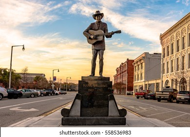 Montgomery, Alabama, USA - January 17, 2017: Statue of Hank Williams, the famous country singer, in its new location on Commerce Street.