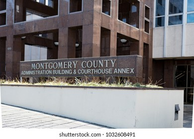 Montgomery, Alabama, USA - January 20, 2018: editorial image of the sign in front of the Montgomery County Administration Building & Courthouse Annex.