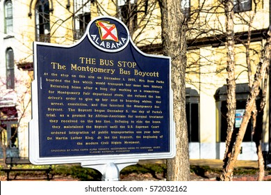Montgomery, Alabama, USA - January 28, 2017: Historic marker for the Montgomery Bus Boycott in downtown Montgomery. The boycott marks the beginning of the modern Civil Rights Movement.