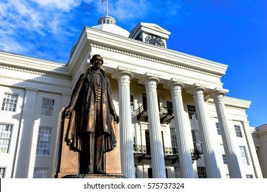 Montgomery, Alabama, USA - January 28, 2017: Close up of the Jefferson Davis, president of the Confederate States of America in the Civil War, statue in front of the Alabama State Capitol Building.