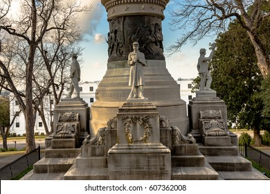Montgomery, Alabama, USA - March 18, 2017: Alabama Confederate Monument on Capitol Hill in Montgomery, Alabama with statues of confederate soldiers from the four branches of military service.
