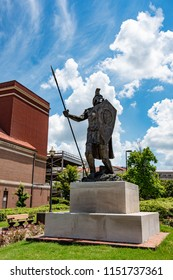 Montgomery, Alabama/USA- August 6, 2018: Troy Trojan statue on the campus of Troy University in downtown Montgomery.
