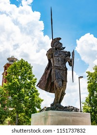 Montgomery, Alabama/USA- August 6, 2018: Trojan statue on the Montgomery campus of Troy University.