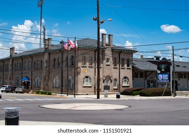Montgomery, Alabama/USA-August 6, 2018: Montgomery Riverwalk Stadium,  home of the Montgomery Biscuits, is located in the downtown entertainment district and was built from a 100-year old train shed.