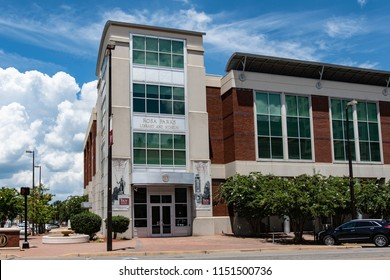 Montgomery, Alabama/USA-August 6, 2018: The Rosa Parks Library and Museum on the campus of Troy University in Montgomery. This museum opened in 2000 and celebrates the life and legacy of Rosa Parks.