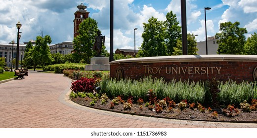 Montgomery, Alabama/USA-August 6, 2018: Web banner for Troy University in Montgomery with the trojan statue in the background.