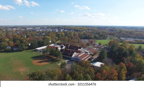 Montgomery County, Maryland Aerial Shot - Beautiful Trees and Suburbs in Fall / Autumn