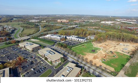 Montgomery County, Maryland - Commercial Offices  - Tech Corridor Development Aerial with Interstate 270 in the Distance