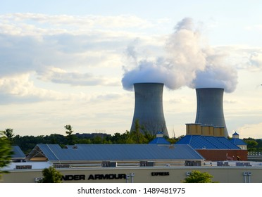 Montgomery County, Pennsylvania, U.S.A - August 25, 2019 - The view of the Limerick Generating Station during the day