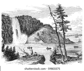 "Montgomery Falls, Quebec, Canada. Illustration originally published in Hesse-Wartegg's ""Nord Amerika"", swedish edition published in 1880."