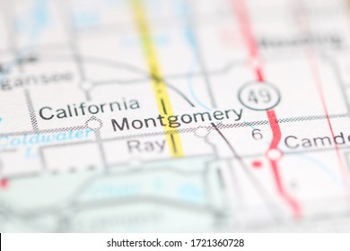 Montgomery. Michigan. USA on a geography map.
