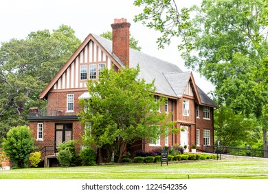 Montgomery, USA - April 21, 2018: Private liberal arts Huntingdon College building in Alabama with old, brick, historic architecture, Phyllis Gunter Snyder Center for Campus Ministries