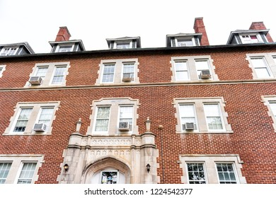 Montgomery, USA - April 21, 2018: Exterior of private liberal arts Huntingdon College building hall in Alabama with old, brick, historic architecture, nobody