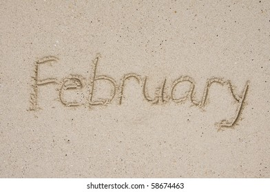 Month February in the sand