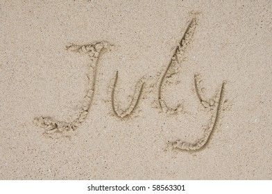 Month July in the sand