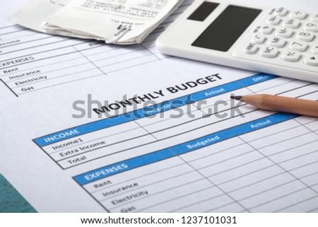 monthly budget concept bills calculator stock photo edit now
