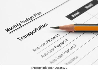 Monthly budget plan - transportation
