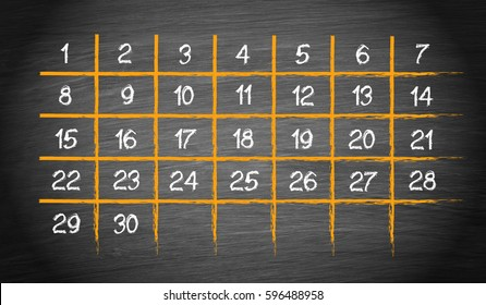 Monthly Calendar with 30 days on chalkboard background