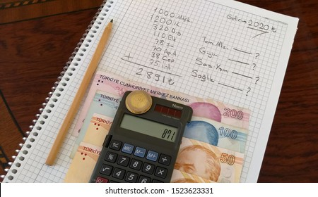 monthly income and expense calculation, home economics accounting, a few turkish lira banknotes on the table
