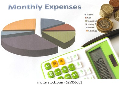 Monthly Saving and Planning Money for Expense Business Finance Concept.