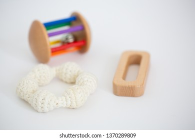 Monti Kids Grasping Toy and Crochet Ring with Cylinder Rattle