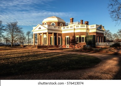 Monticello's house on a beautiful day in Charlottesville, Virginia.