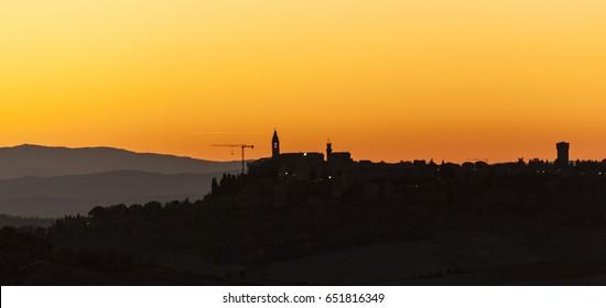 Montichiello - Tuscany/Italy: October 29, 2017: Sunset in Monticchiello, Val d`Orcia Tuscany Italy