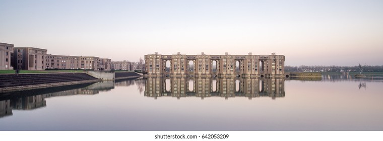 Montigny-le-Bretonneux, France - December 29, 2016: Built in 1981, the Arcades du Lac is an ensemble of apartment buildings in the outer Paris. It's designed by architect Ricardo Bofill.