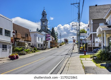 MONT-JOLI, QUEBEC, CANADA - AUGUST 16, 2017: View of Mont-Joli city. Mont-Joli is a city in the La Mitis Regional County Municipality within the Bas-Saint-Laurent region of Quebec, Canada.