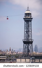 Montjuic Cable Car tower, Barcelona port, Spain