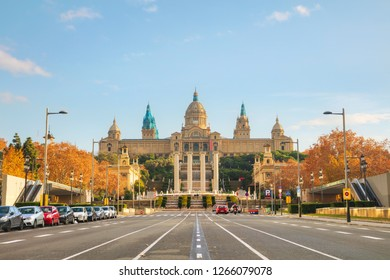 Montjuic hill in Barcelona, Spain on a sunny day