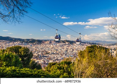 Montjuic park in Barcelona with cable car