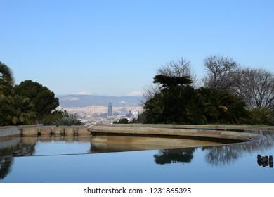 Montjuic park in Barcelona city