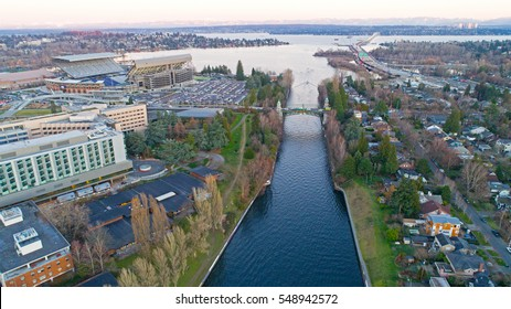 Montlake Cut Cascade Mountains Lake Washington Bellevue 520 Aerial Landscape Panorama