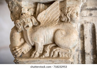 MONTMAJOUR, FRANCE - JUNE 26, 2017: Romanesque capitals of the columns in the cloisters of the Abbey of Montmajour near Arles, France