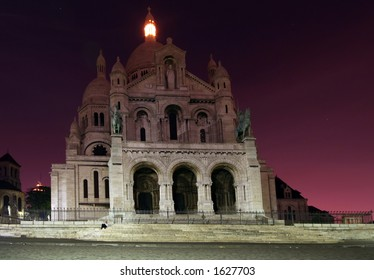 montmartre church at night, Paris, France