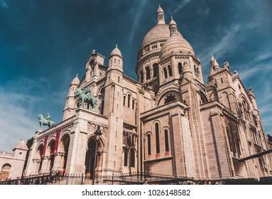 Montmartre Church in Paris, France in july 2017.