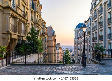 Montmartre district of Paris. Morning Montmartre staircase in Paris, France. Europa. View of cozy street in quarter Montmartre in Paris, France.