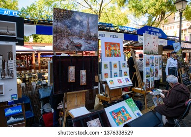 Montmartre / France - October 06 2018: The square of Place du Tertre in Montmartre, famous for artists, painters and portraitists
