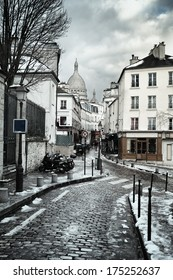 Montmartre Hill with Sacre Coeur basilica in Paris, France