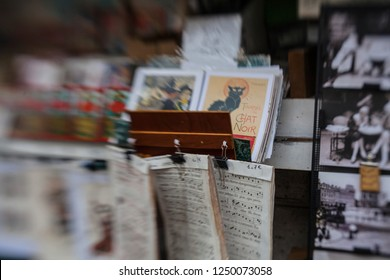 MONTMARTRE - OCTOBER 1, 2016: the famous poster of Le Chat Noir, the black cat, and other pictures in Montmartre, Paris. Le Chat Noir was a 19th century cabaret club in Montmartre