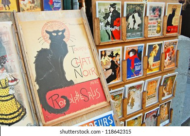 MONTMARTRE - OCTOBER 31: the famous poster of Le Chat Noir, the black cat, and other pictures in Montmartre, Paris on October 31, 2012. Le Chat Noir was a 19th century cabaret club in Montmartre.